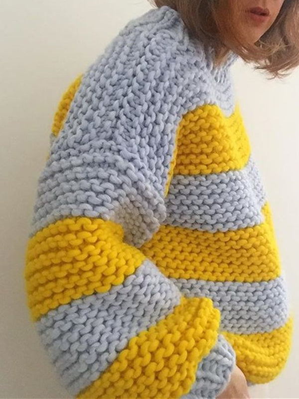 Grey-Yellow Casual Shift Sweater