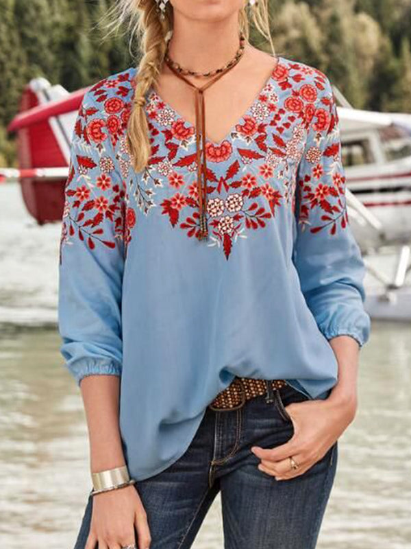 Women  V-neck Half Sleeve Floral Casual Blouses