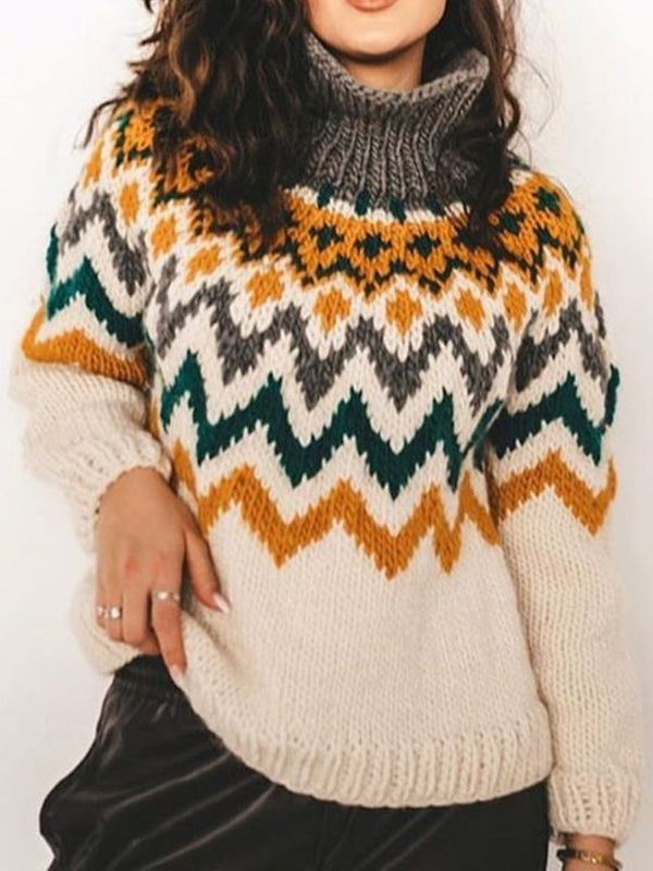 Multicolor Long Sleeve Casual Shift Turtleneck Sweater