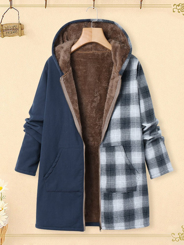 Hoodie Casual Checkered/plaid Outerwear