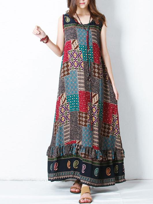 Women Bohemian Printed Sleeveless Maxi Dresses