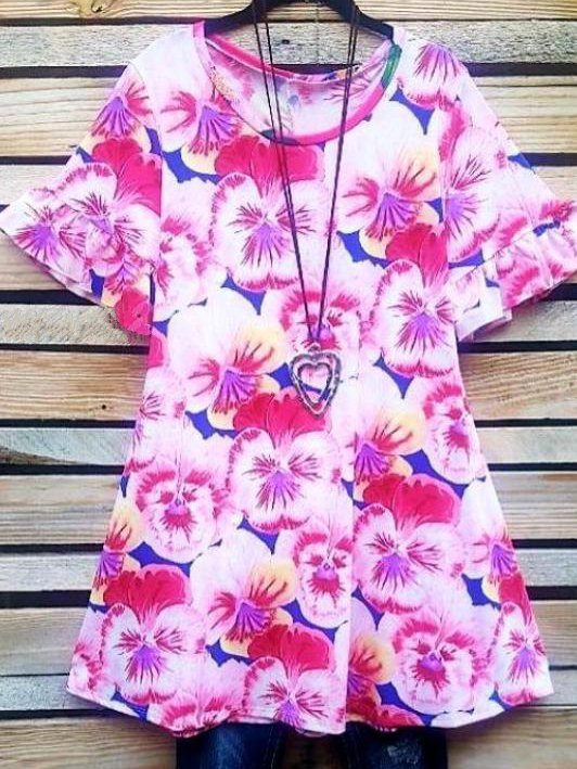 Casual Round Neck Floral Shirts dresses