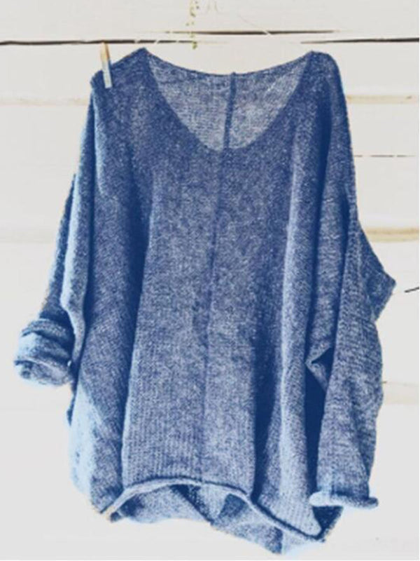 Casual Knitted Long Sleeve V neck Solid  Blouse