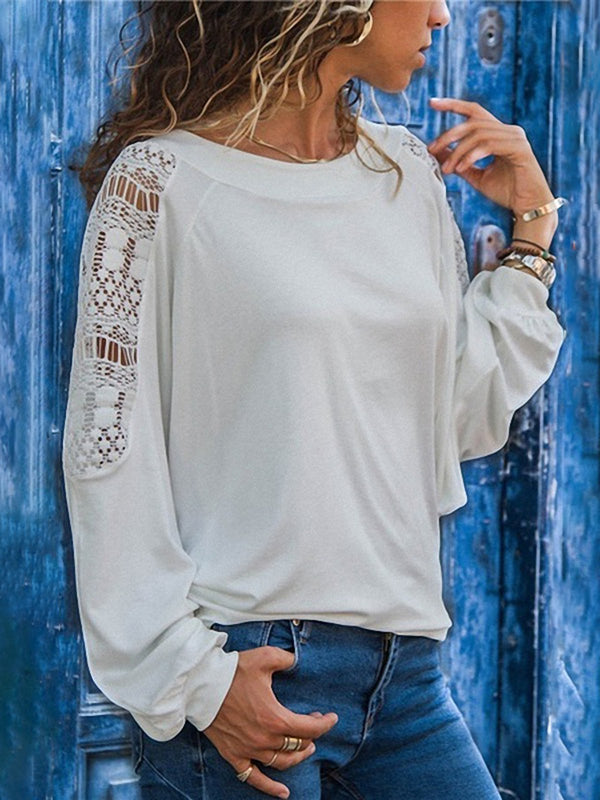 Crew Neck Long Sleeve Casual Cutout T-Shirts