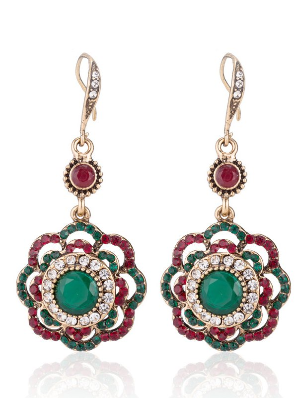 Red-Green Casual Alloy Earrings