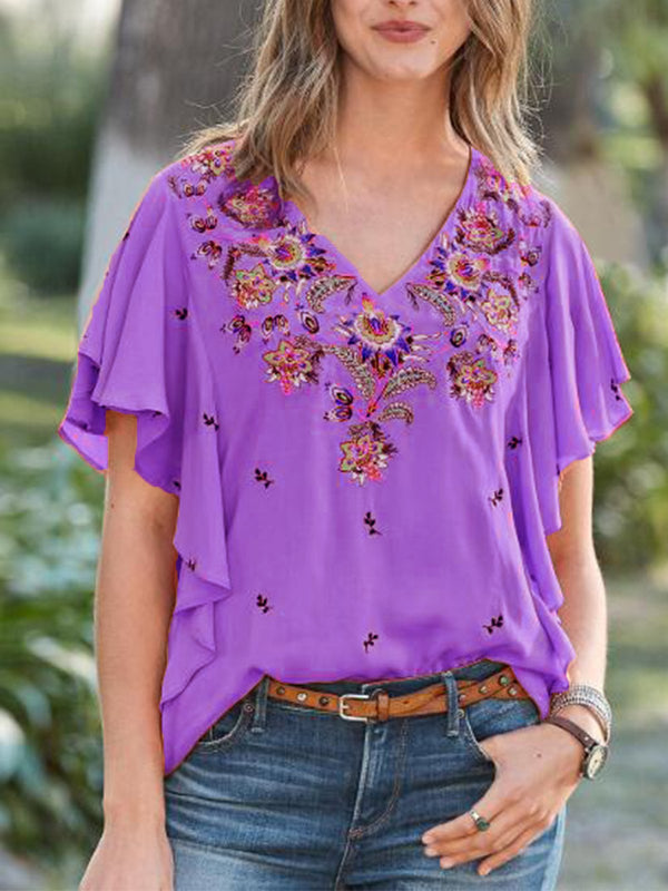 Ruffled Casual V Neck Shirts & Tops