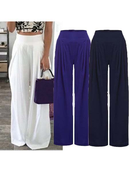 Pure Color Plus Size Casual Loose Pants