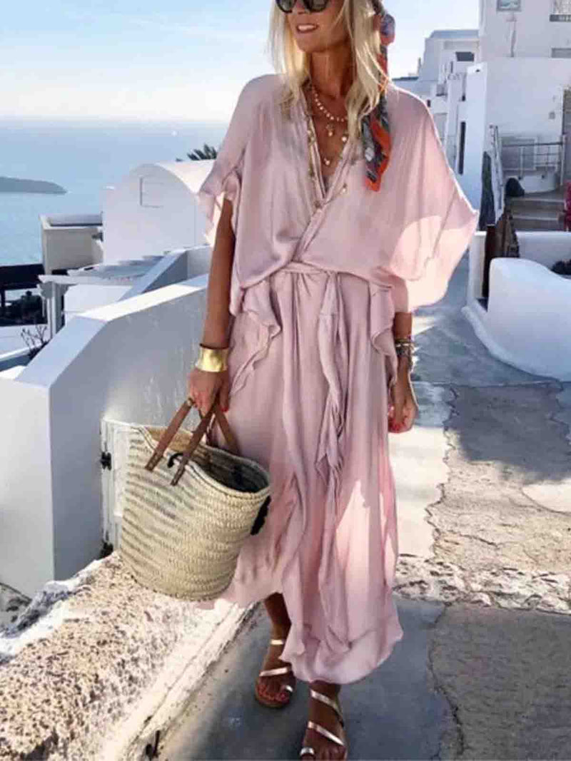 V neck  Women Boho Short Sleeve Slit Solid Summer Dress