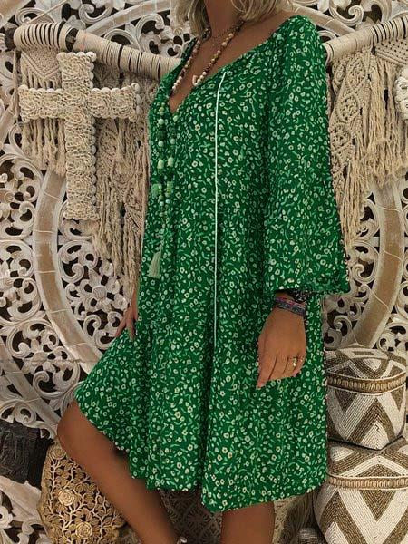 V neck Shift Printed Long Sleeve Floral Fall Dress