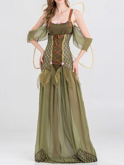 Green Boho Plunging Neck Silk-Satin Dresses