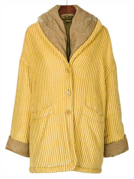 Casual Shawl Collar Solid Outerwear