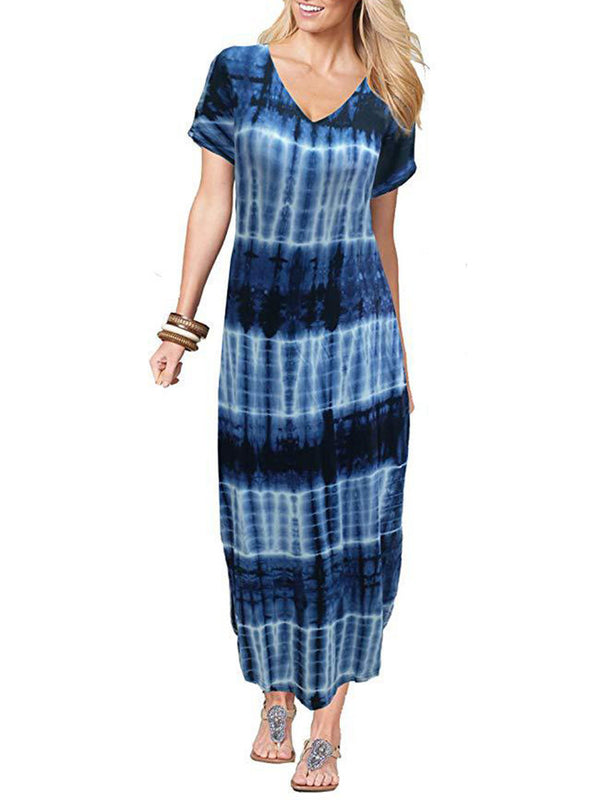 Casual Printed V Neck Short Sleeve Maxi Dress