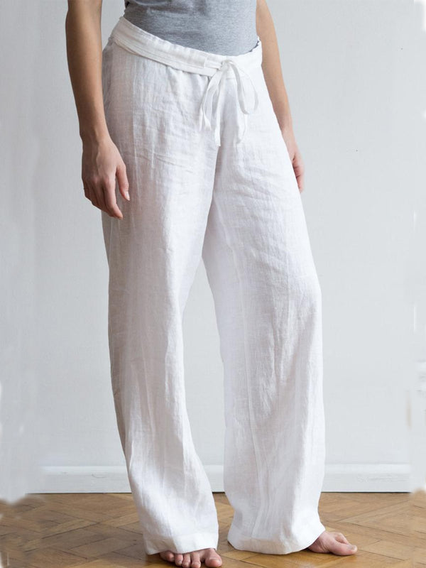 Casual Plain Linen Pants