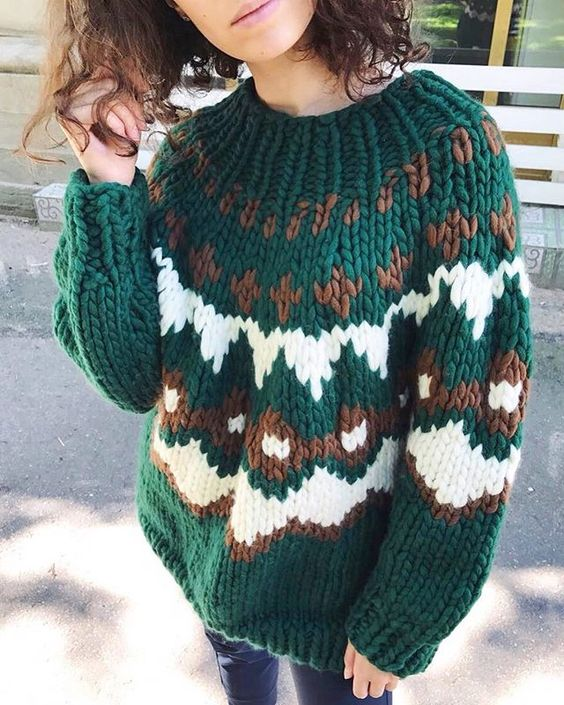 Green Casual Long Sleeve Sweater