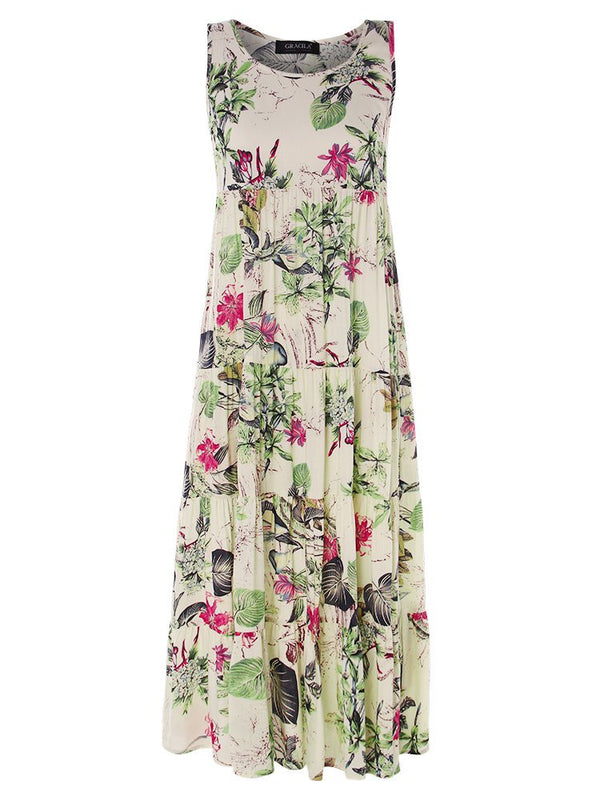 Casual Floral Printed Crew Neck Sleeveless Plus Size Dress