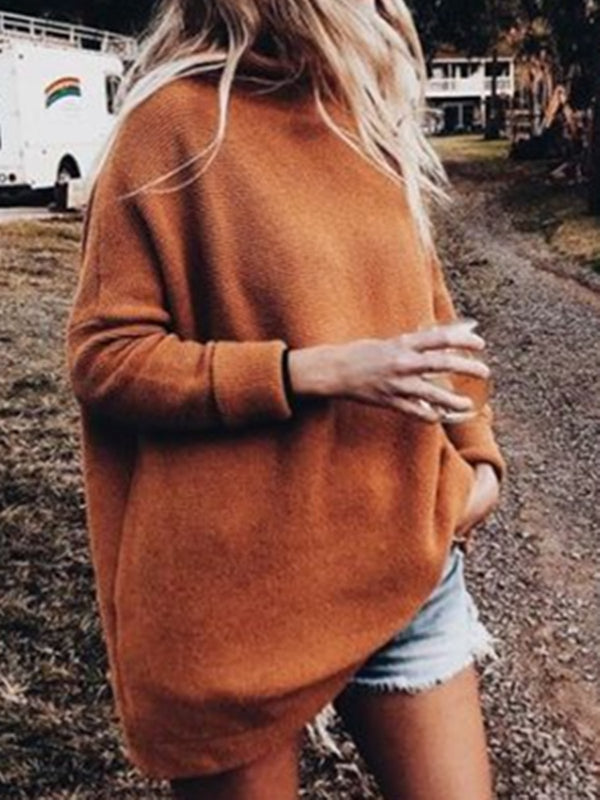 Orange Casual Cashmere Shift Plain Sweater