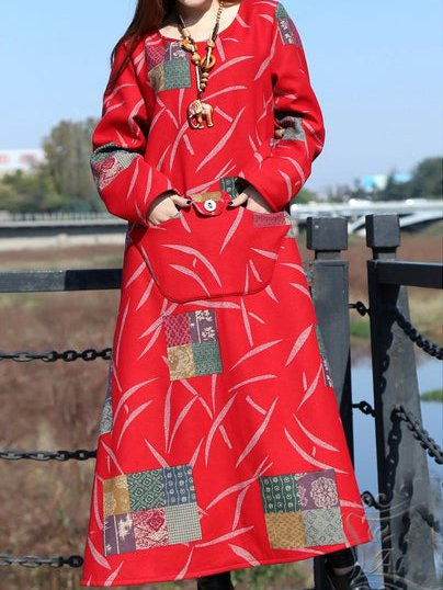 Red Long Sleeve Casual Cotton-Blend Crew Neck Dresses