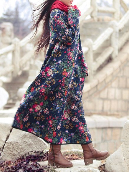 Blue Casual Crew Neck Cotton-Blend Floral Dresses