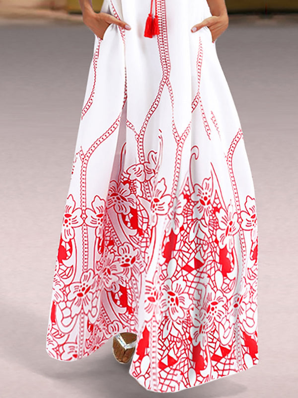 Red Embroidered Beach Cotton Maxi Dress