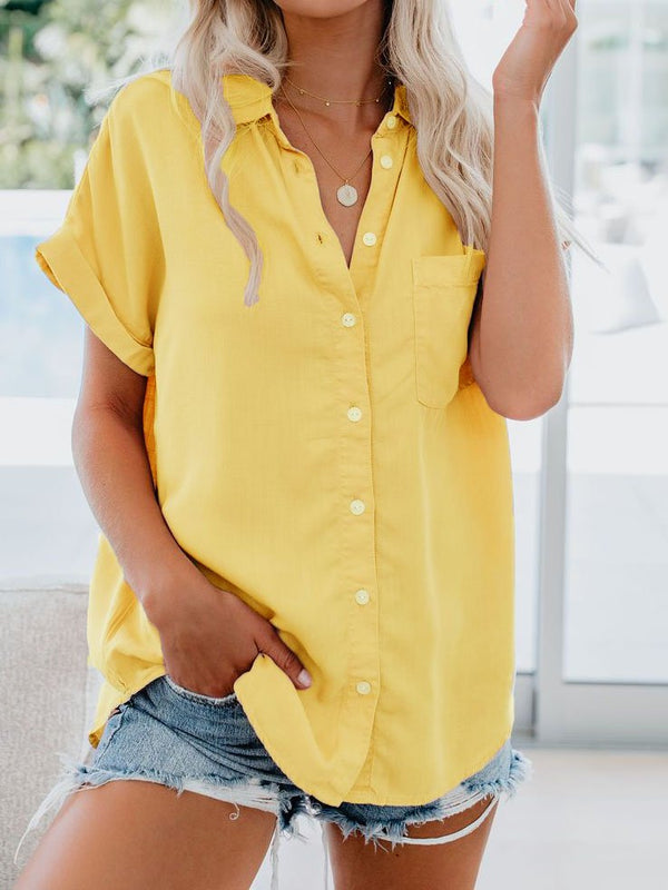 Solid Casual Turn-Down Collar Blouse