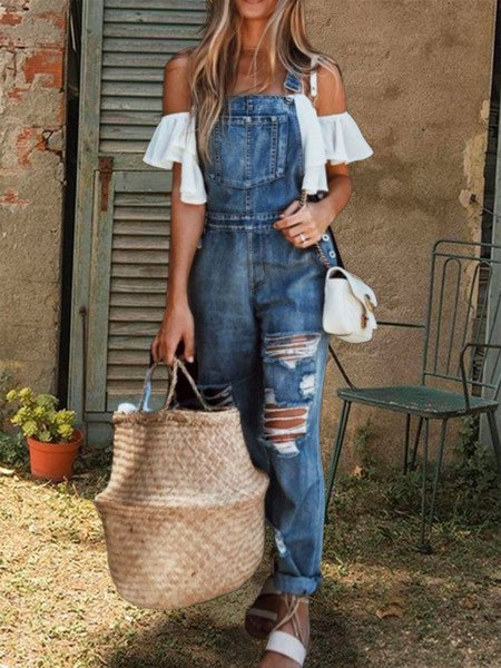 Casual cotton loose denim jumpsuit