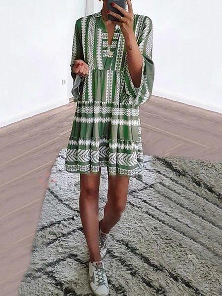 2019 Fashion Trends Green Basic V Neck Casual Dresses Evagal Clothing
