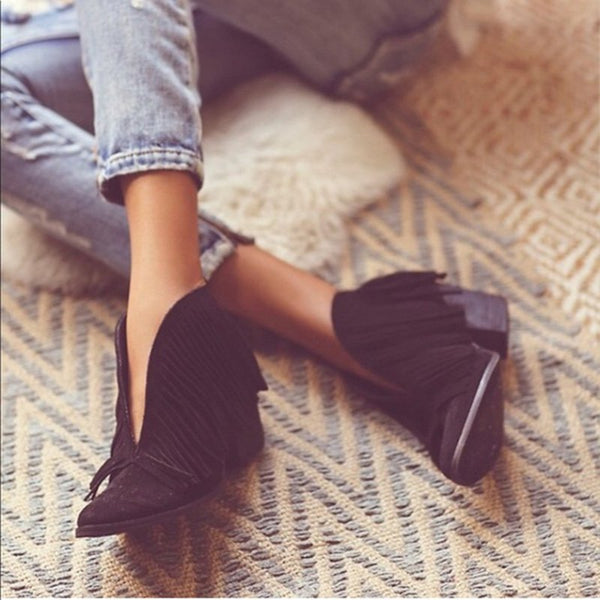 Fringes Suede Pointed Toe Chunky Heels Boots