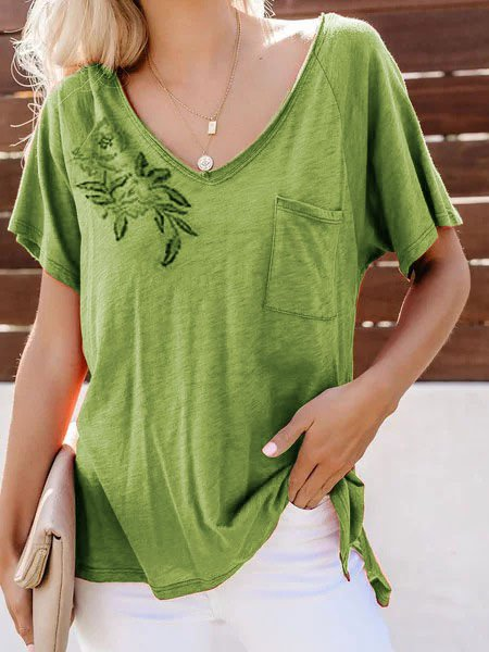 Short Sleeve Cotton Casual Blouse