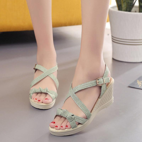 Women's Casual Buckle PU Summer Wedge Heel  Sandals