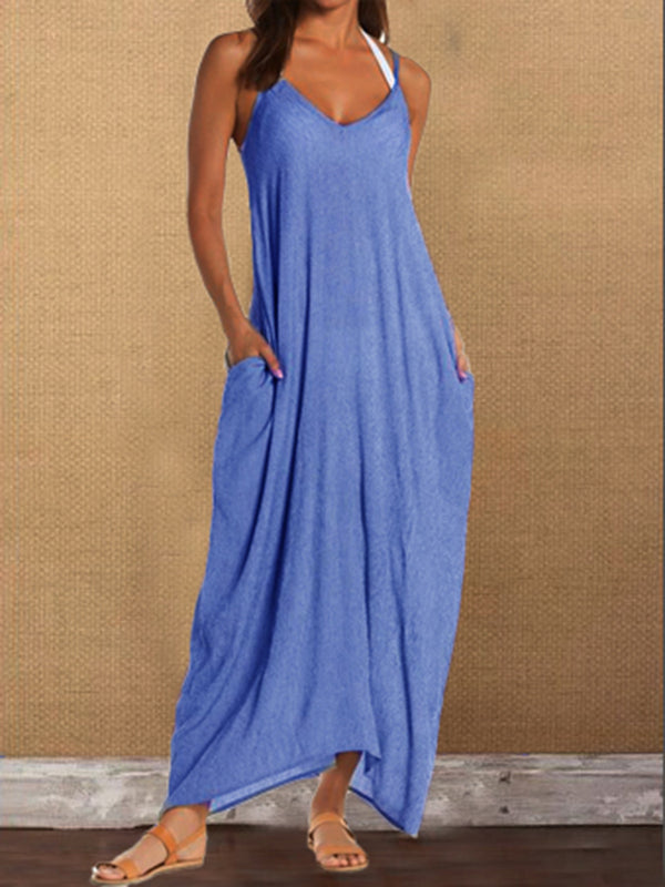 Casual Sleeveless V Neck Plain Dresses