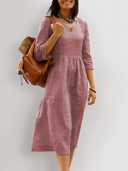 Women Midi Dresses Daily V Neck  Plain Dresses