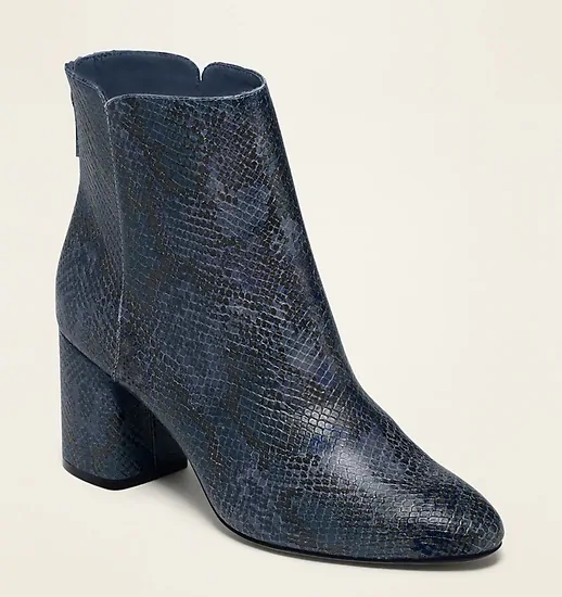 Faux-Snakeskin High-Heel Booties for Women