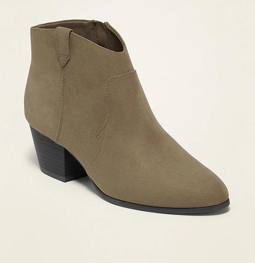 Faux-Suede Western Ankle Boots for Women