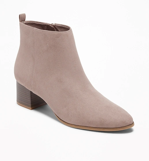 Faux-Suede Block-Heel Booties for Women