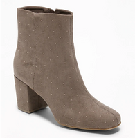 Studded Faux-Suede Block-Heel Boots for Women