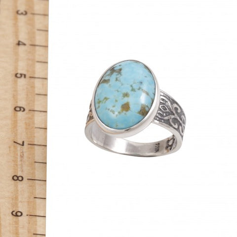 Blue Turtles Silver Turquoise Ring