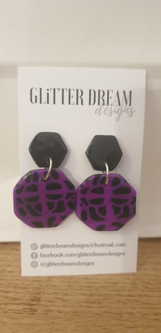 Black and Purple Polymer Clay Dangles