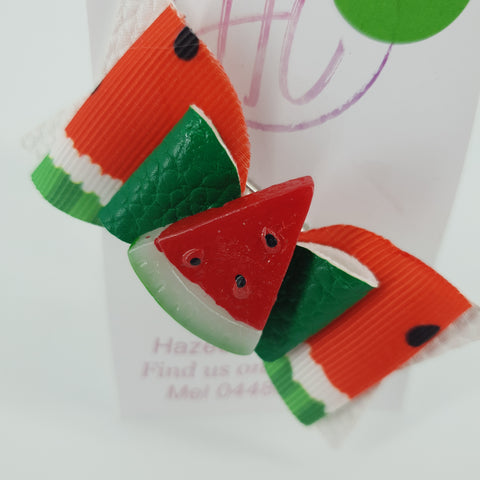 Watermelon Faux Leather  Bow Clip