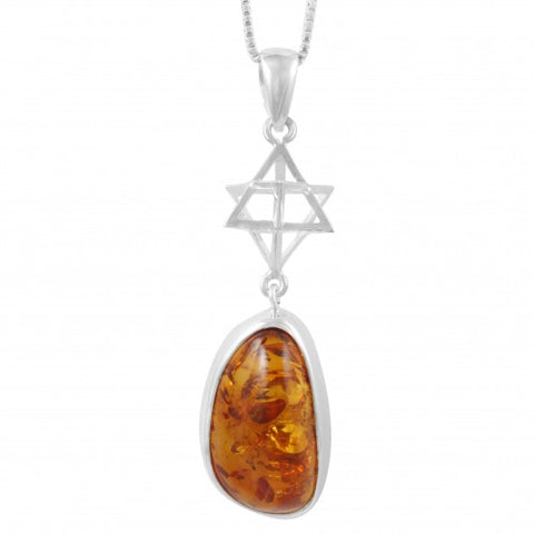 Baltic Amber and Merkaba Pendant