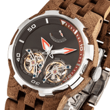 Men Dual Wheel Automatic Walnut Wood Watch
