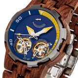 Men Dual Wheel Automatic Kosso Wood Watch