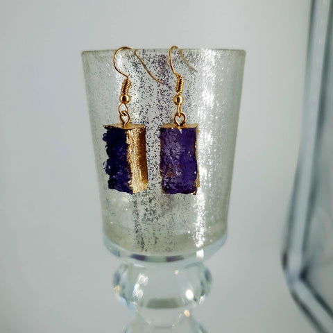 Faux Amethyst Druzy Earrings- Fashion Jewellery