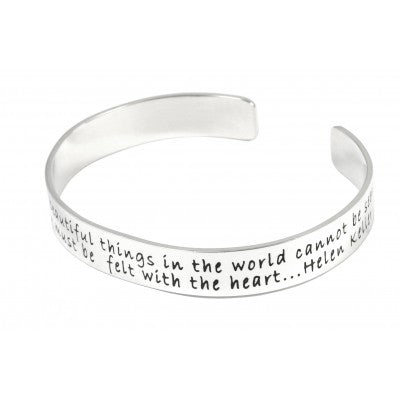 Sterling Silver Double line Quote Bangle - Sheer Envy