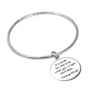 Hammered Silver Quote Bangle - Sheer Envy