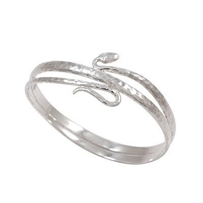 Sterling Silver Hammered Snake Bangle - Sheer Envy