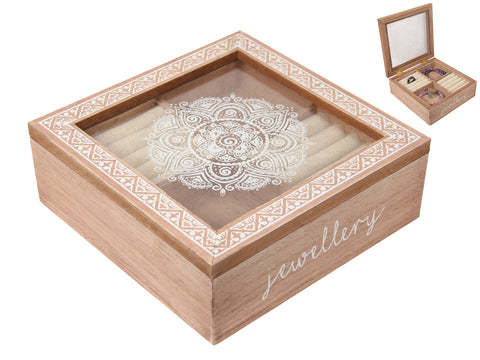 MDF Mandala Glass Top Jewellery Box