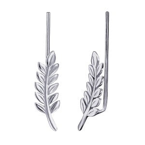 Sterling Silver Leaf Ear Climbers - Sheer Envy