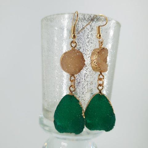Faux Green Druzy Earrings- Fashion Jewellery