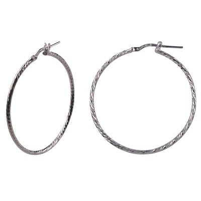 These sparkling sterling silver hoops are a stunning diamond cut design for a bit of extra bling. Afterpay and Laybuy available