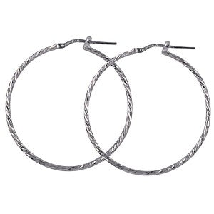30mm Sterling Silver Diamond Cut Hoops